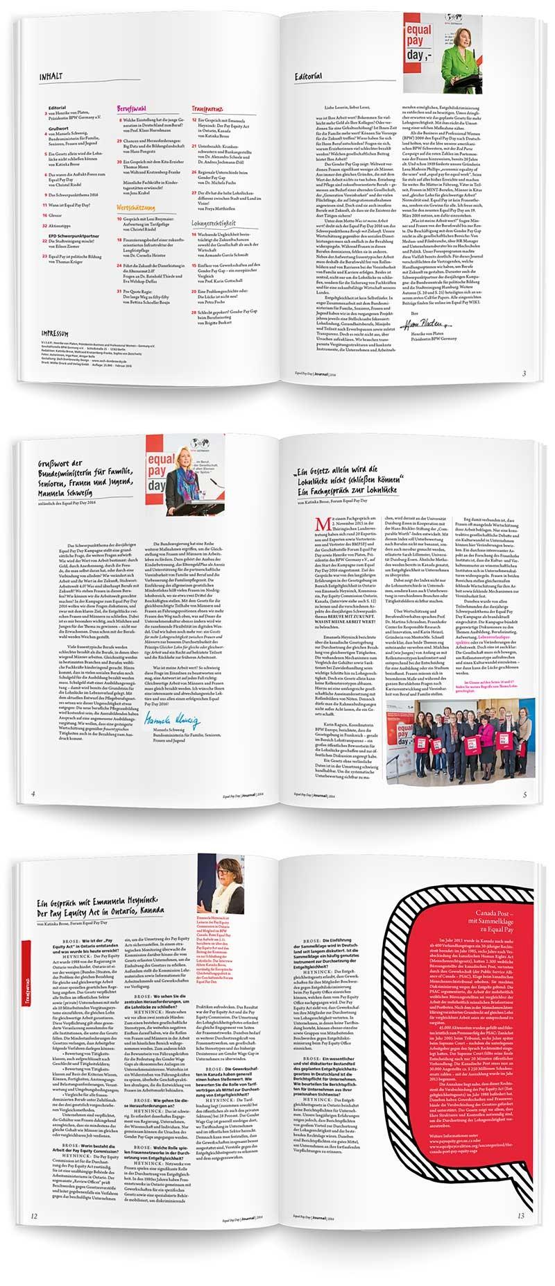 Layout für Equal Pay Day Magazin 2016