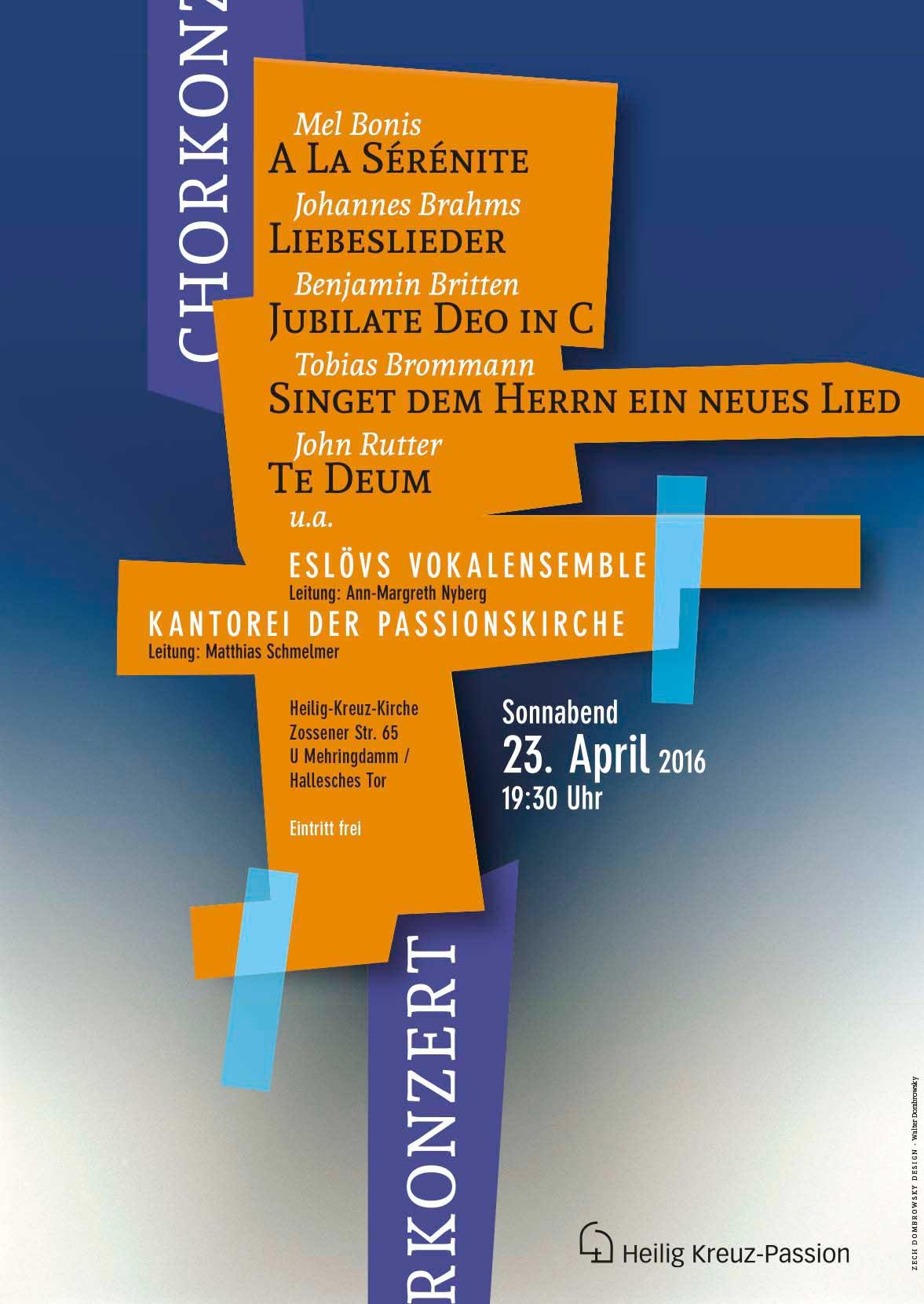 Johann Sebastian Bach, Steve Dobrogosz, Kantorei der Passionskirche, Berlin-Kreuzberg, Plakatgestaltung Zech Dombrowsky Design