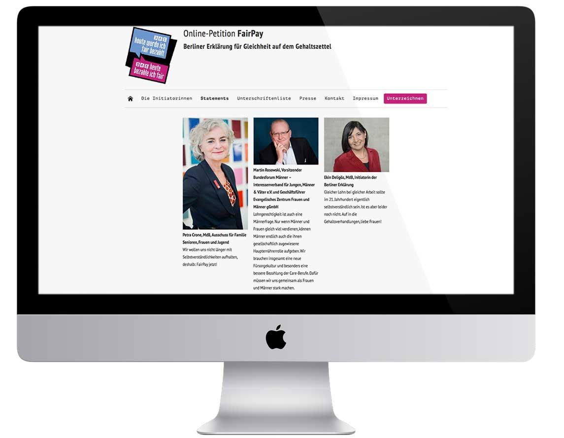 Internetauftritt für die Online-Petition Fairpay, Webdesign Zech Dombrowsky Design