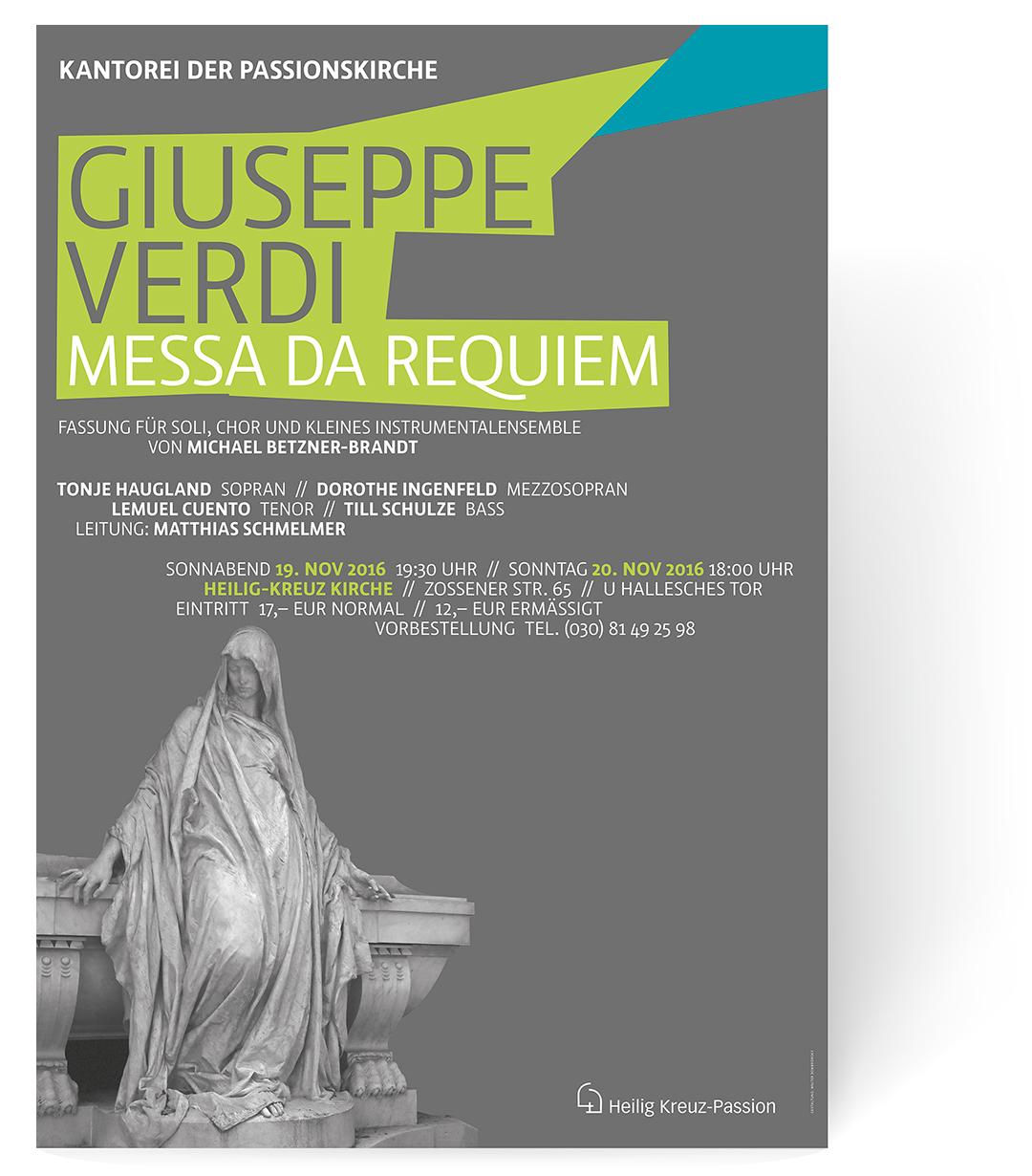 """Giuseppe Verdi """"Messa Da Requiem"""", Kantorei der Passionskirche, Berlin-Kreuzberg, Plakatgestaltung Zech Dombrowsky Design"""