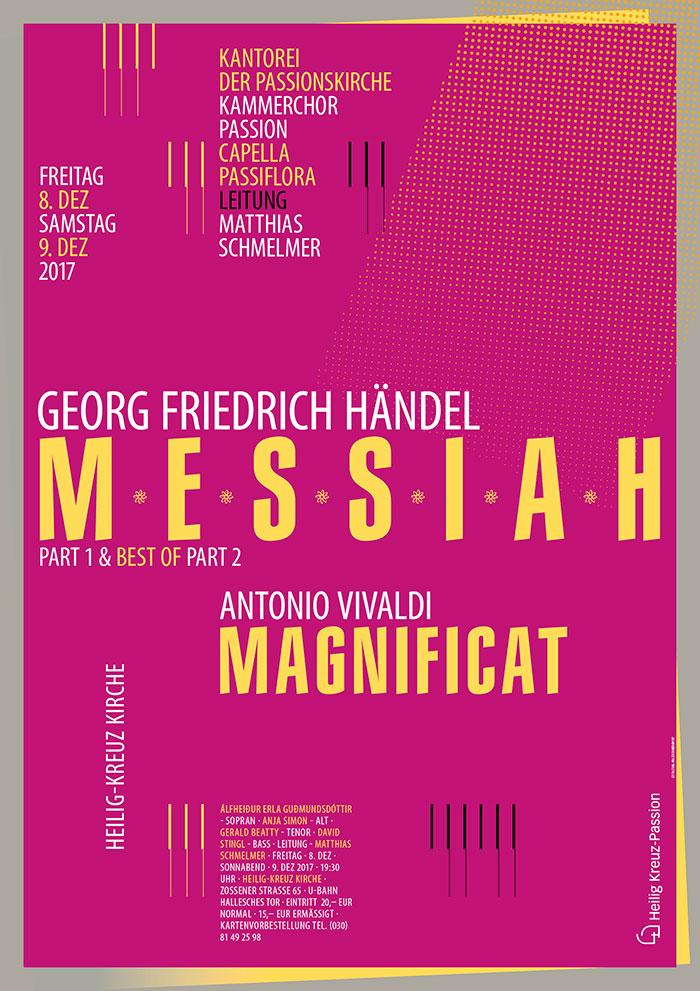 "Georg Friedrich Händel ""Messiah""  / Antonio Vivaldi ""Magnifikat"", Kantorei der Passionskirche, Berlin-Kreuzberg, Plakatgestaltung Zech Dombrowsky Design"