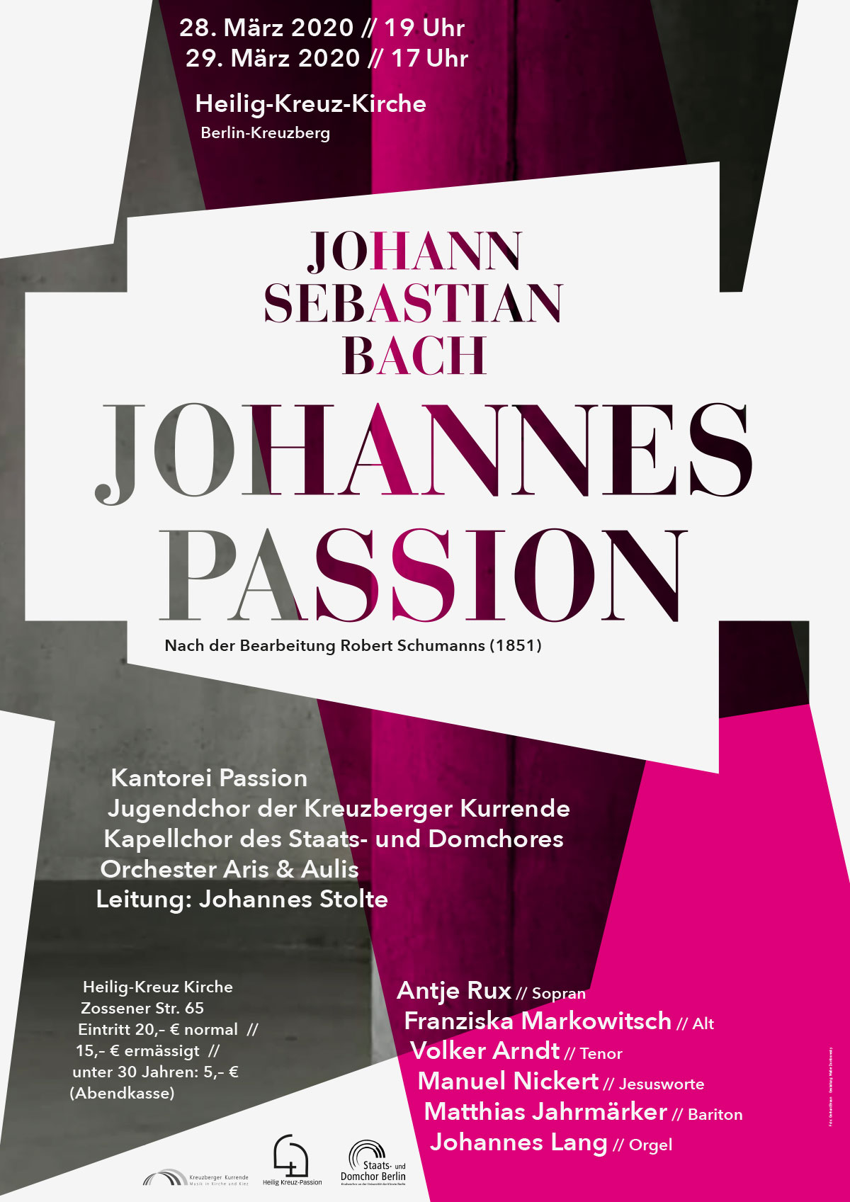Poster zum Chorkonzert Johann Sebastian Bach Johannes Passion